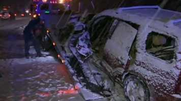 The slick roads Tuesday morning caused several spinouts and crashes.
