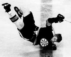 Bobby Orr takes a tumble in the third period of the Boston-Detroit game at Boston Garden, March 5, 1969.