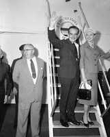 Prince Rainier and Princess Grace of Monaco arrive on the liner S.S. United States in New York on Sept. 11, 1956, to start their first vacation in the United States since their wedding.