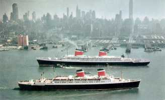 SS America (Foreground) and United States (Background) in New York.