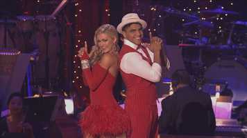Professional boxer Victor Ortiz and his professional dance partner Lindsay Arnold dance the jive.