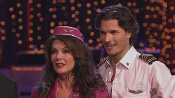 Reality television star Lisa Vanderpump and her professional dance partner Gleb Savchenko performed the jive.