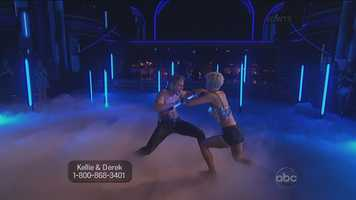 They incorporated a lot of sharp movements but had a lot of flow! They had quite a few great lifts and even one where Kellie turned her body into a donut and Derek spun her it was amazing!