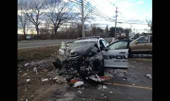 A police cruiser has been involved in a multi-vehicle crash in West Bridgewater on Tuesday.