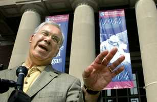 "Boston Mayor Thomas Menino faces reporters outside Brigham and Women's Hospital moments after being released in Boston, Aug. 20, 2004. Menino checked in to the hospital on Wednesday night with what he described as ""extreme stomach pains."" A CT scan confirmed he had a mild form of Crohn's disease."