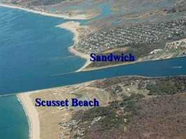 Aerial photos show the build-up of sand on Scusset Beach in Plymouth, just north of the jetty.