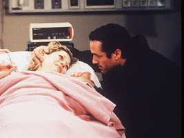 In 2000, After a fight with AJ, Carly falls down a staircase and miscarries her baby.