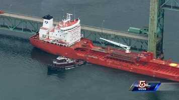 Transportation officials say the ship hit the bridge draw while it was in the down position.