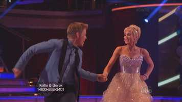 "The performance featured one of the more daring entrance in ""Dancing"" history. Derek Hough slid down a bannister to get to the floor."