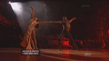 Jacoby Jones and Karina Smirnoff performed the rumba.