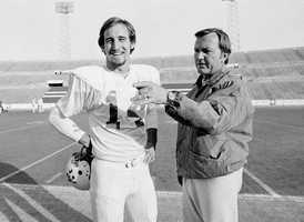 Chuck Fairbanks coached the New England Patriots from 1973 to 1978. Before coaching on the professional level, Fairbanks, seen in the photo with quarterback Steve Grogan, coached the Oklahoma Sooners from 1967-72.(June 10, 1933 - April 2, 2013)