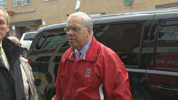 Mayor Menino prepares to step into Fenway Park for his final tour as mayor of the city of Boston.