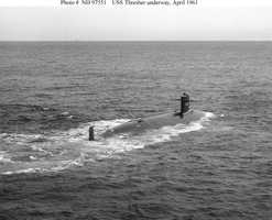 Starboard quarter view, taken while the submarine was underway on 30 April 1961.