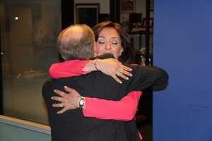 JC gets a hug from Harvey Leonard