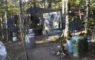 The camp in a remote, section of Rome, Maine, where authorities believe Knight lived like a hermit for decades.