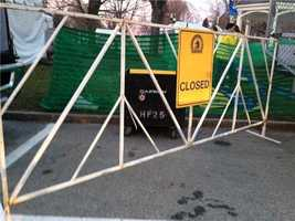 Closing roads before the marathon begins