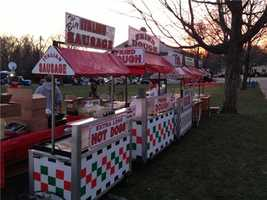 Italian sausage and hot dogs among the offerings at the starting line.