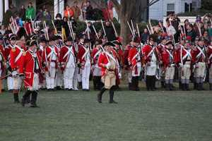 The British begin to taunt members of the Lexington training band.