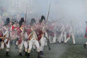 The British charge ahead with their bayonets