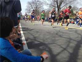 Runners on the course in Wellesley