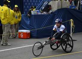 Shirley Riley, from Arizona, finished in fourth place in the women's wheelchair race at the Boston Marathon. She came in seven minuites after the first place finisher, with a time of 1:52:19.