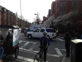 Ambulances wait for possible victims