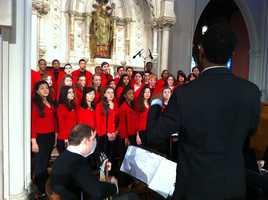 Boston Children's Chorus warms up.