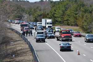 Massachusetts State Police are investigating a crash involving a police vehicle along Interstate 95 in Sharon.