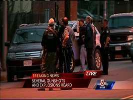 Dzhokhar Tsarnaev is taken into custody by police at approximately 8:45 p.m.