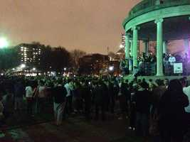 A large crowd gathers on Boston Common.