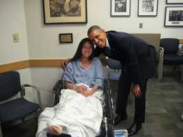 President Obama visits Boston Marathon bombing victim Kaitlynn Cates at Massachusetts General Hospital on Thursday.
