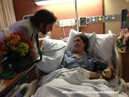Actor Bradley Cooper visits Celeste Corcoran at Boston Medical Center.
