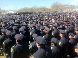 Hundreds of officers from across the region have gathered.
