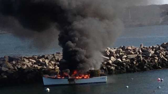 Lobster boat catches fire