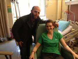 Bomb victim Brittany Loring was visited in the hospital by Dustin Pedroia