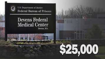 Cost of holding a federal prisoner for one year: $25,000