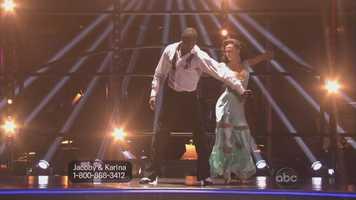 Jacoby Jones and Karina Smirnoff performed the Viennese waltz