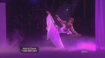 In their first dance of the night, Kellie Pickler and Derek Hough performed the Viennese waltz
