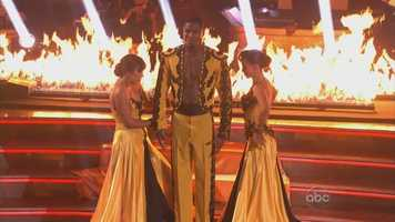 Jacoby Jones and Karina Smirnoff and Cheryl Burke performed the paso doble
