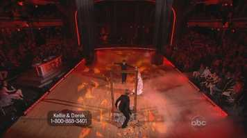 """The controversy began with this trio routinefrom """"American Idol"""" alum Kellie Pickler, and her professional dance partner Derek Hough and bonus pro Tristan MacManus."""