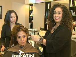 Stylist Pam Sanidopoulos says, the more damaged the hair, the better the treatment works.