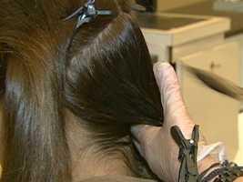 The Keratin treatment makes the hair very shiny.