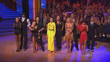 The Scores (First dance, second dance, grand total)Aly Raisman and Mark Ballas: 30, 29. Total: 59/60Jacoby Jones and Karina Smirnoff: 30, 29. Total: 59Kellie Pickler and Derek Hough: 30, 28. Total: 58 Zendaya and Val Chmerkovskiy:  25,  30. Total: 55Ingo Rademacher and Kym Johnson: 24, 27. Total: 51