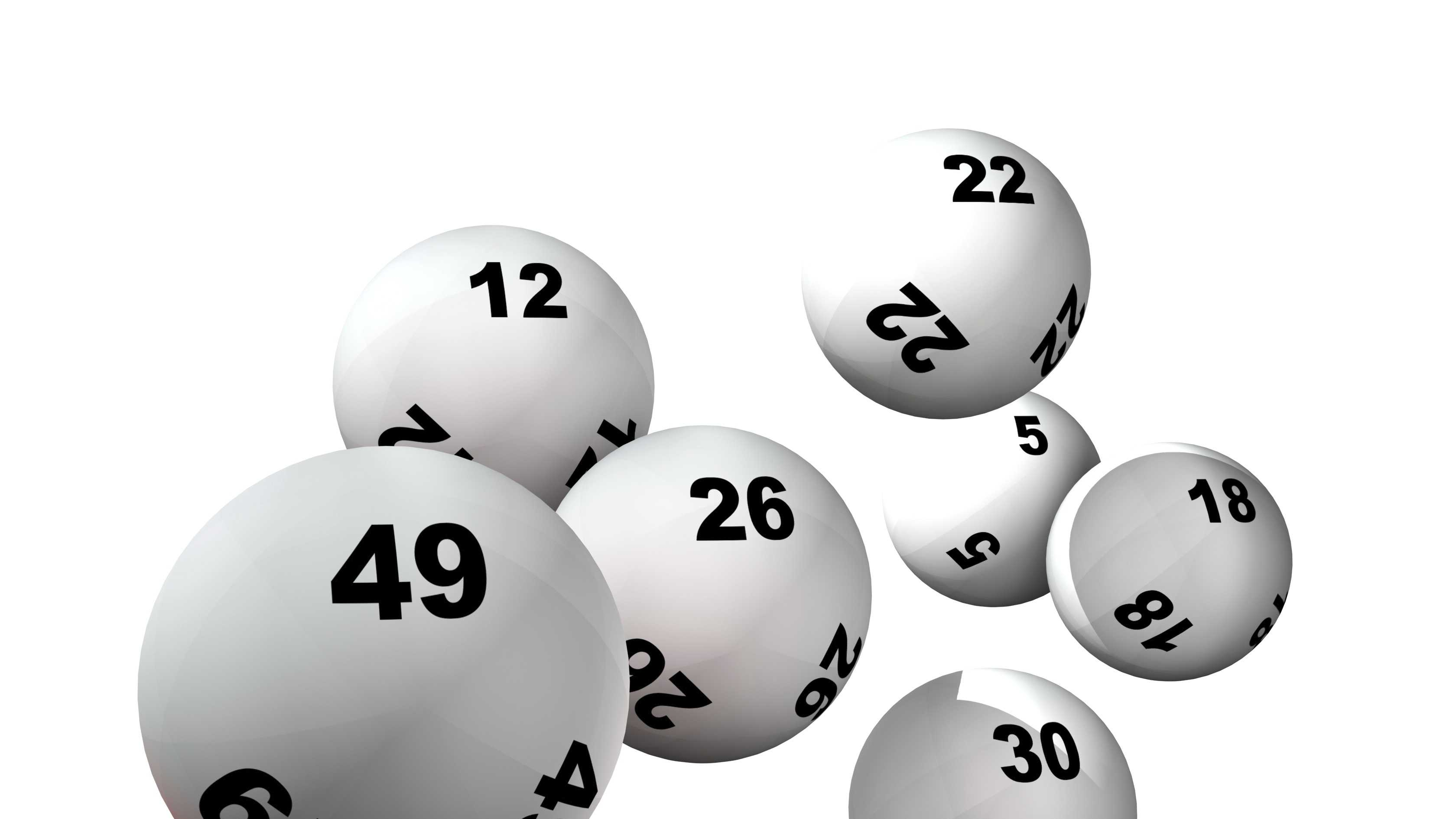 Lottery balls on white