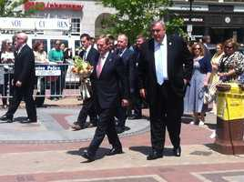 The Prime Minister of Ireland, Enda Kenny, visited the Boston Marathon memorial site in Copley Square with Boston Police Commissioner Ed Davis Sunday.