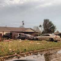 Wrecked cars in Moore.