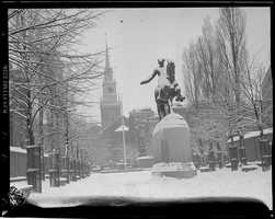 Revere Statue and Old North Church, North End, in the snow