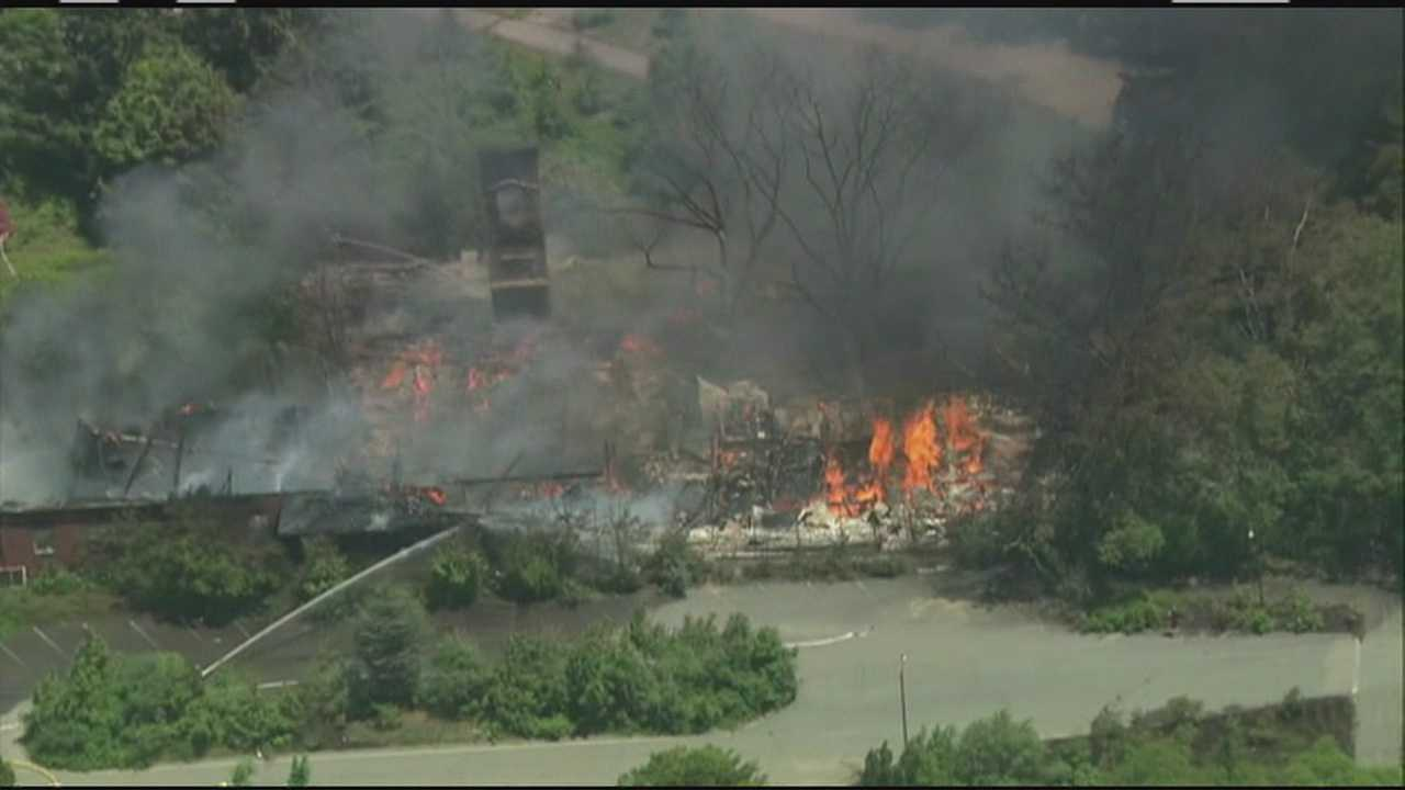 Fire destroys building on former school property