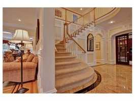 The two-story marble foyer.