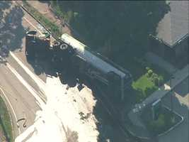 Fuel leaked from a tanker truck that turned over Friday in Arlington.